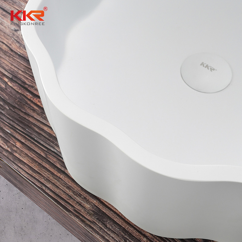 Custom White Artificial Marble Bathroom Sink Wash Basin