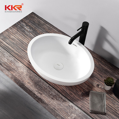 Luxury Oval White Solid Surface Wash Basin Bathroom Sink