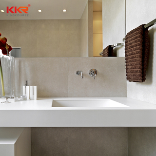 Marble Solid Surface Bathroom Countertop Integrated Stone Sink And Countertop