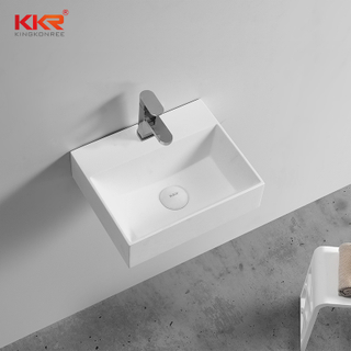 Thin Solid Surface Modern Stone Washbasin For Wall Hung