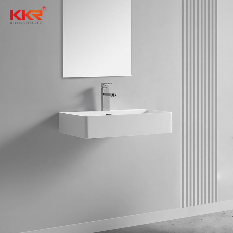 White Thin Solid Surface Wash basin For Wall Hung