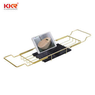 Bathroom Shelf Golden Metal Holder Bathtub Shelves