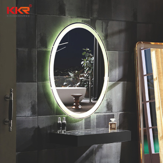 LED Round Solid Surface Artifiicial Stone Bathroom Vanity Mirror KKR-8012