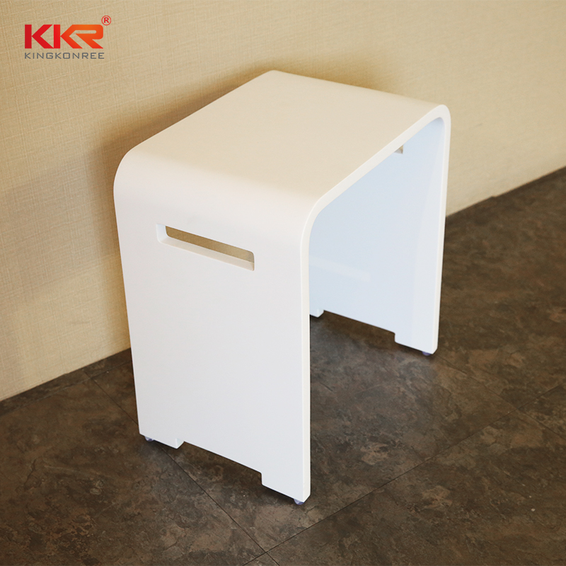 Hot Sales Solid Surface White Marble Bathroom Stool KKR-Stool-K