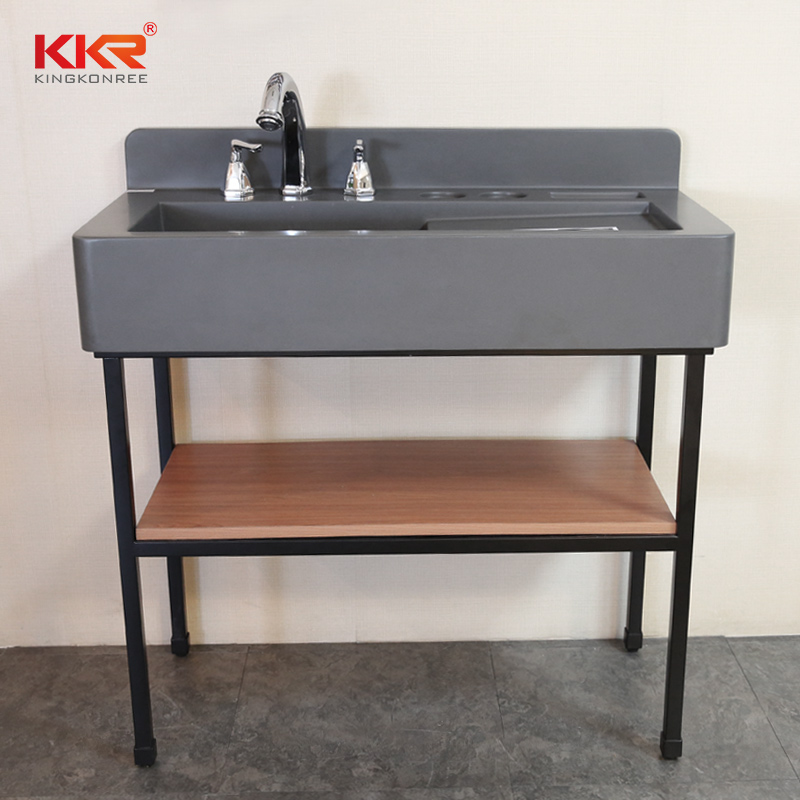 Concrete grey solid surface resin bathroom sink with lighted mirror