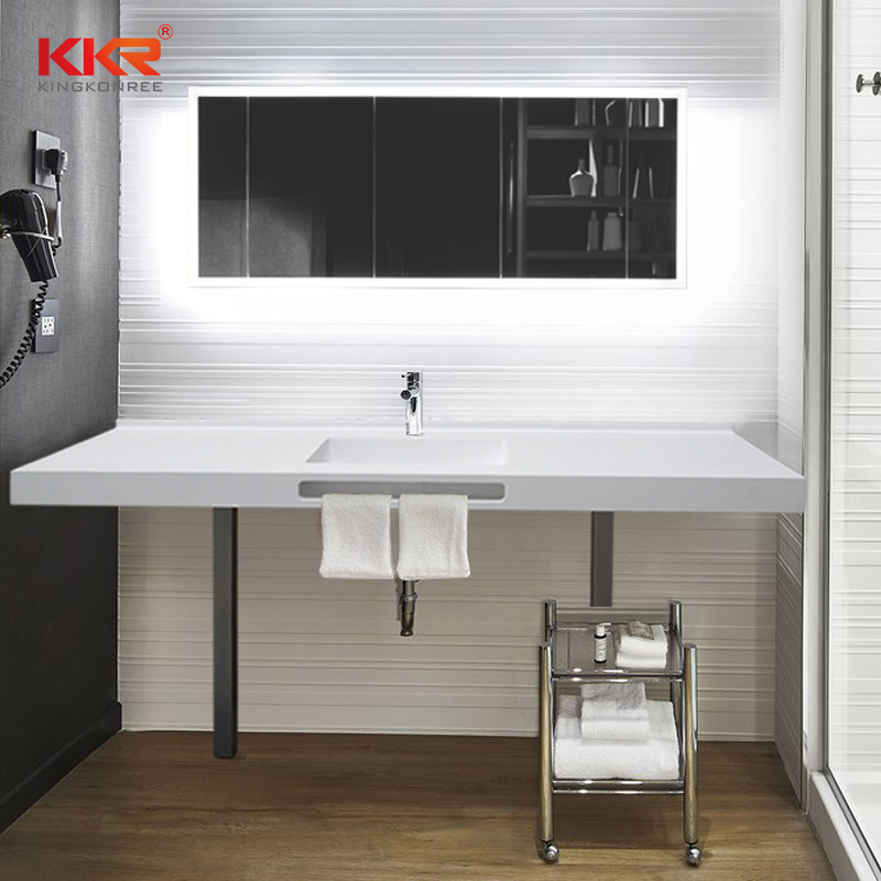 French style solid surface bathroom vanity sets with lighted mirror